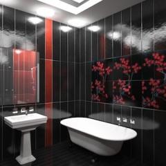 Черная ванная комната с красным оформлением