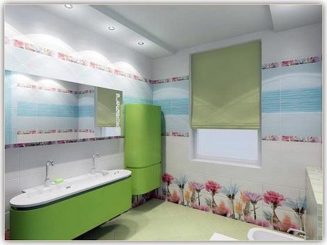 Ванная с зеленными цветами