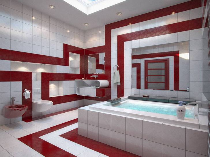 Красно белая или вишневая ванна (54 фото)