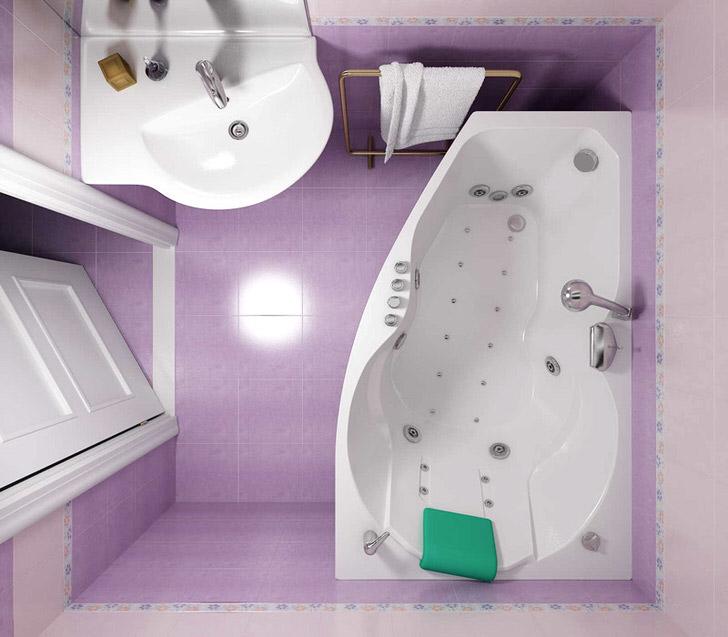 Дизайн красивой и удобной ванны 4 кв. м. (30 фото)