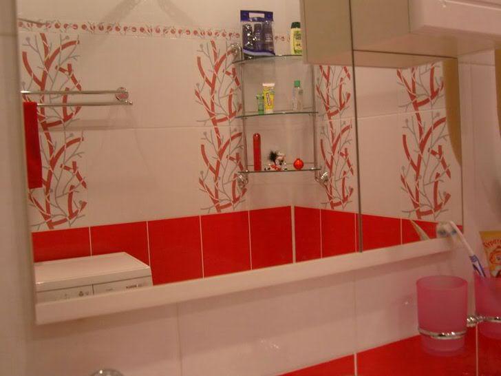 Яркость и спокойствие ванной в красно белом цвете (52 фото)