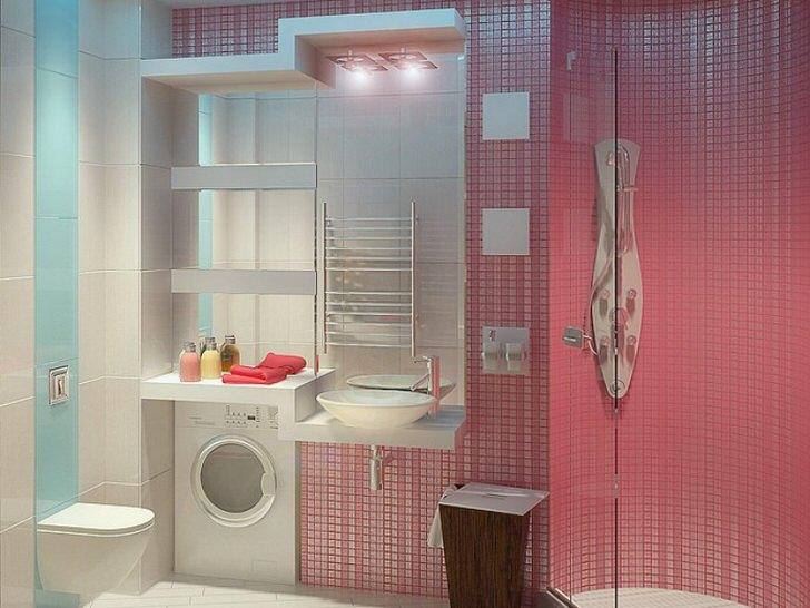 Отделка розовой плиткой - дизайн для ванной комнаты (46 фото)