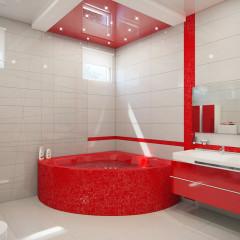Ванная комната в красно-белом цвете фото