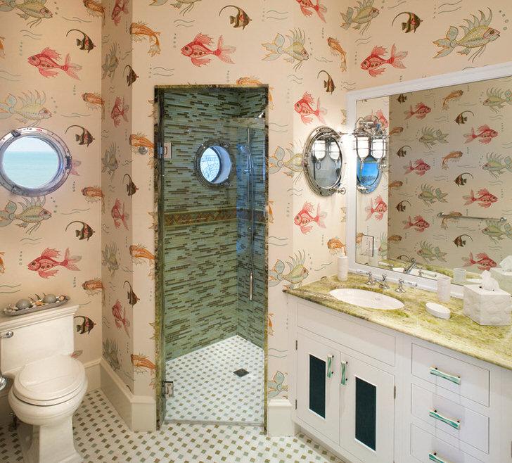 Дизайнерские особенности ванной в морском стиле (28 фото)