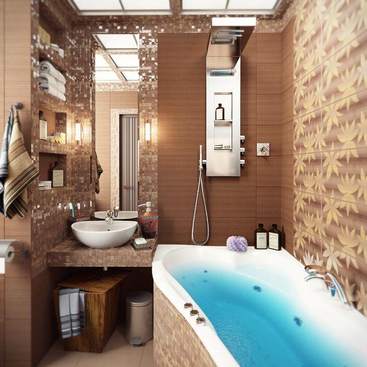 Реальные фото интерьера ванной комнаты в квартире