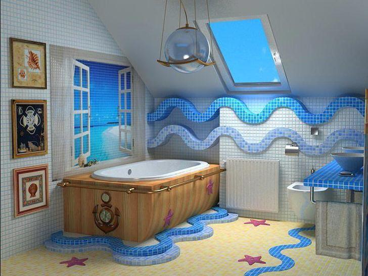 Ванная в голубых тонах - море у вас дома (55 фото)