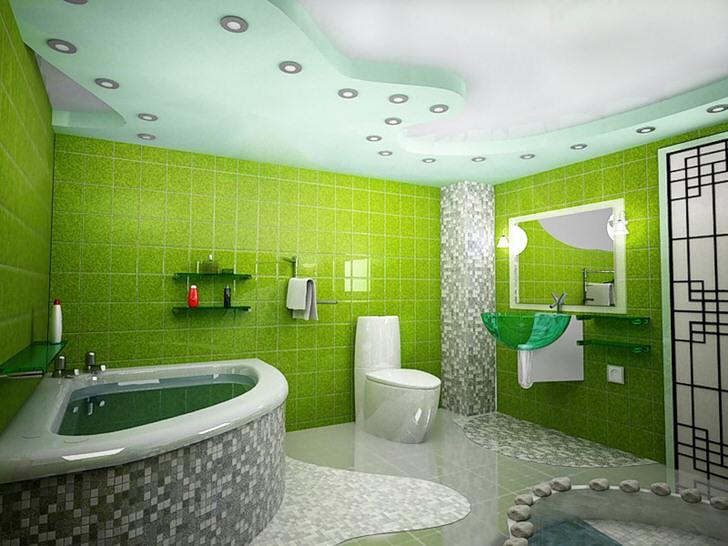В зеленом цвете ванна: детали оформления (32 фото)