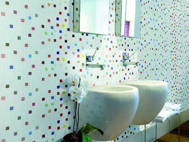 Плитка мозаика для оформления ванной комнаты (44 фото)