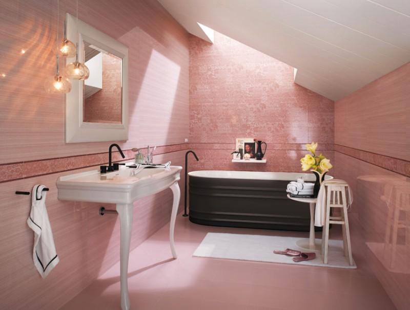 Pink ceramic tiles
