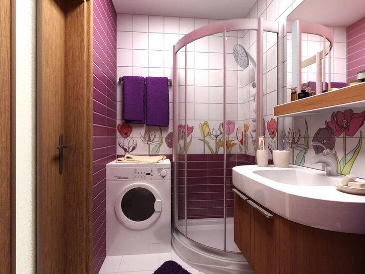 Удачный интерьер ванной комнаты в хрущевке (30 фото)
