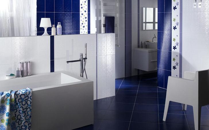 Синяя ванная комната: рекомендации по оформлению (40 фото)