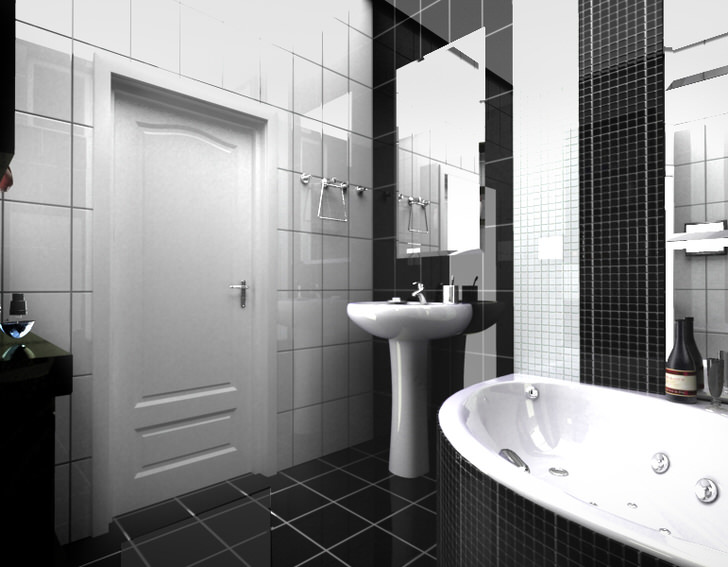 Ванная комната в черно-белом исполнении (50 фото)