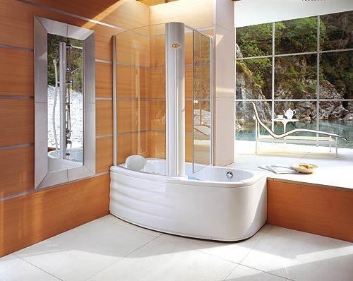 Белая душевая кабина с ванной