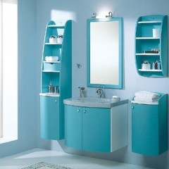Бирюзовая мебель в ванной