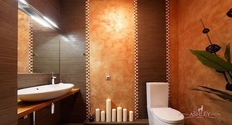 Ванная дизайн коричневая с бежевым 165