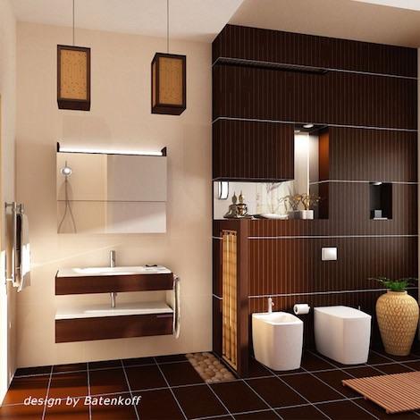 Темно-коричневая ванная комната