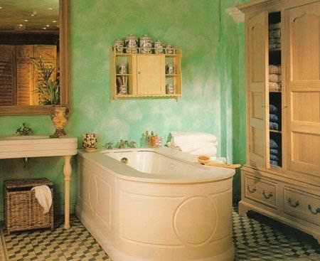 Зеленная краска в ванной