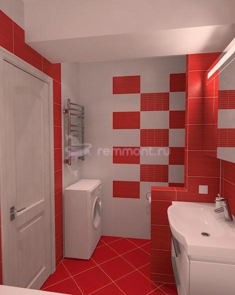 Дизайн ванной красно белой комнаты