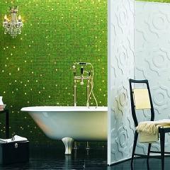 Зеленая мозаика в ванной