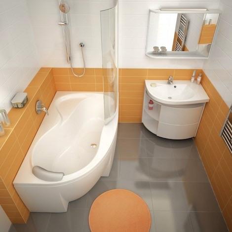Ванна в оранжевой комнате