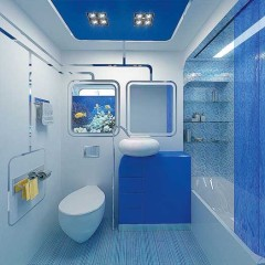 Синяя маленькая ванная