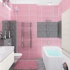 Розовая плитка ванной
