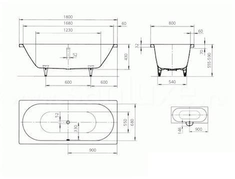 Размеры стальной ванны