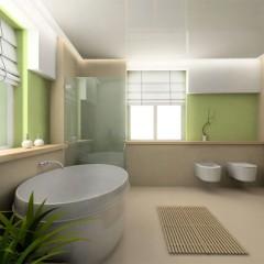 Большая ванна в зеленых оттенках