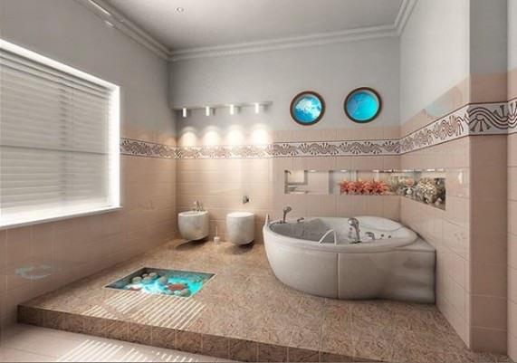 Большая ванна в спокойных тонах