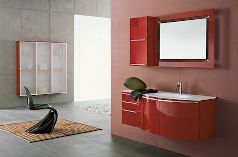 Красная мебель в ванную