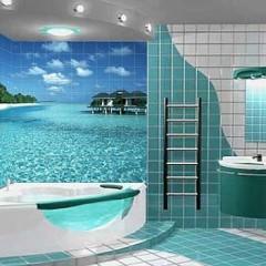 Зеленная ванная комната