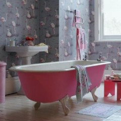 Обои фламинго ванной
