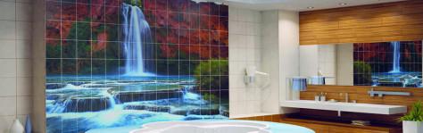 Панно из плитки для оформления ванной комнаты (46 фото)