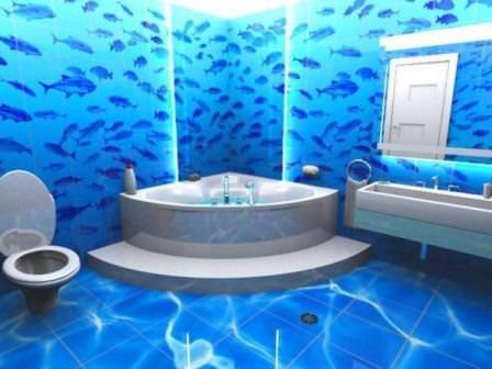 Океан с рыбами в ванной