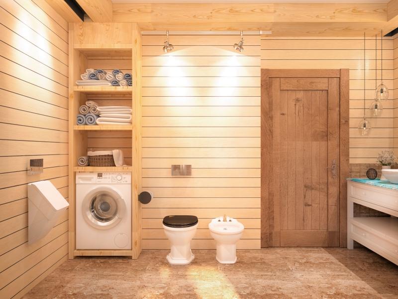 Дизайн ванны фото в деревянном доме