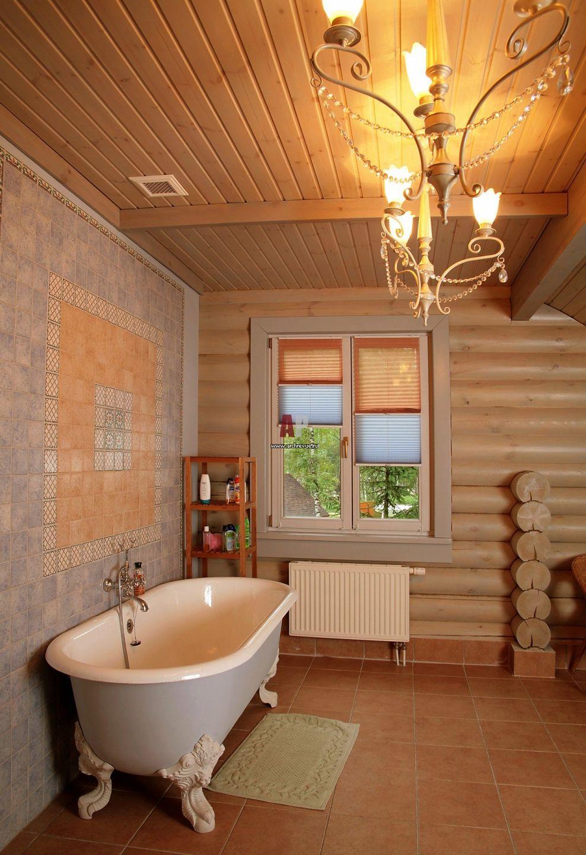 Ванная комната в деревянном доме 64
