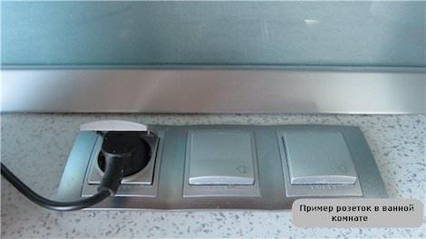 Розетка и выключатели в ванной