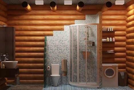 Душевая в деревянном доме