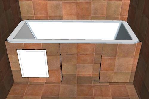 Кирпичный экран под ванную