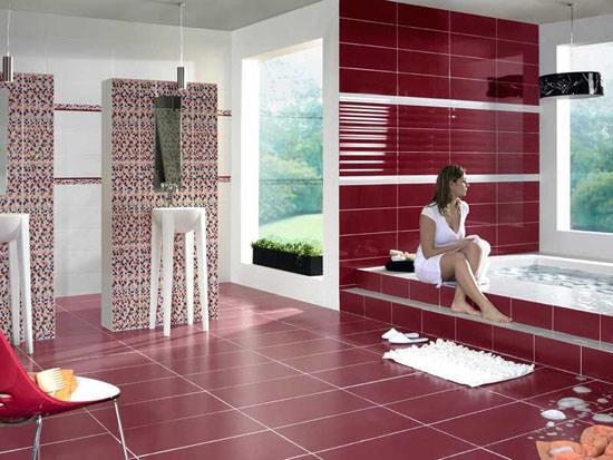 Бардовая ванная