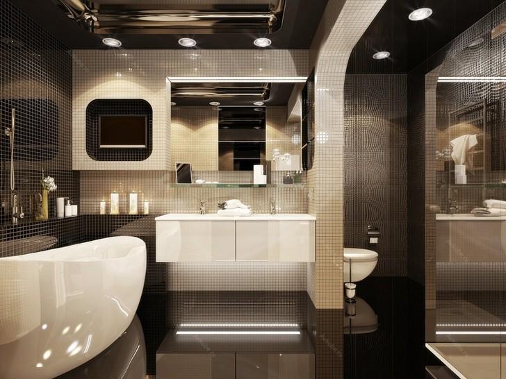 Модный дизайн маленькой ванной комнаты 2018 609