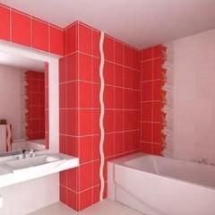 Красно-белая ванная