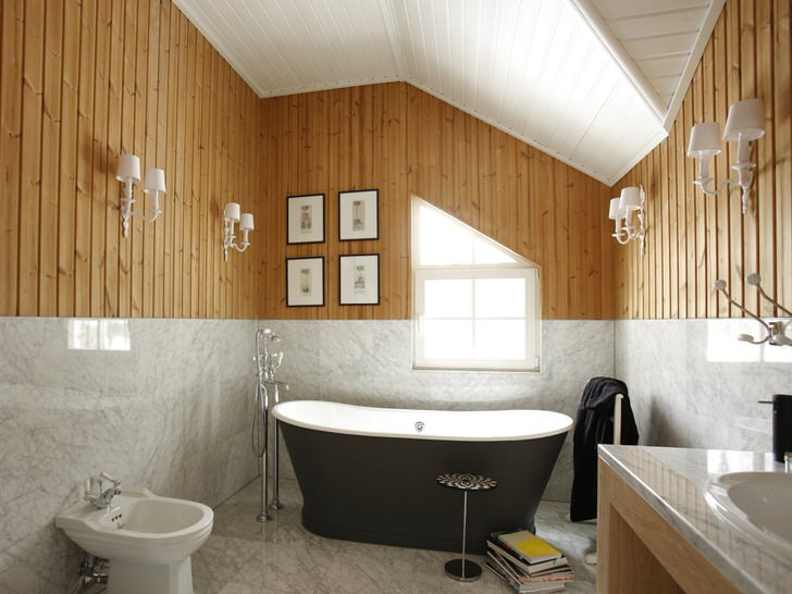 Интерьер ванной комнаты в деревянном доме (70 фото)