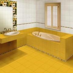 Желтый кафельный пол