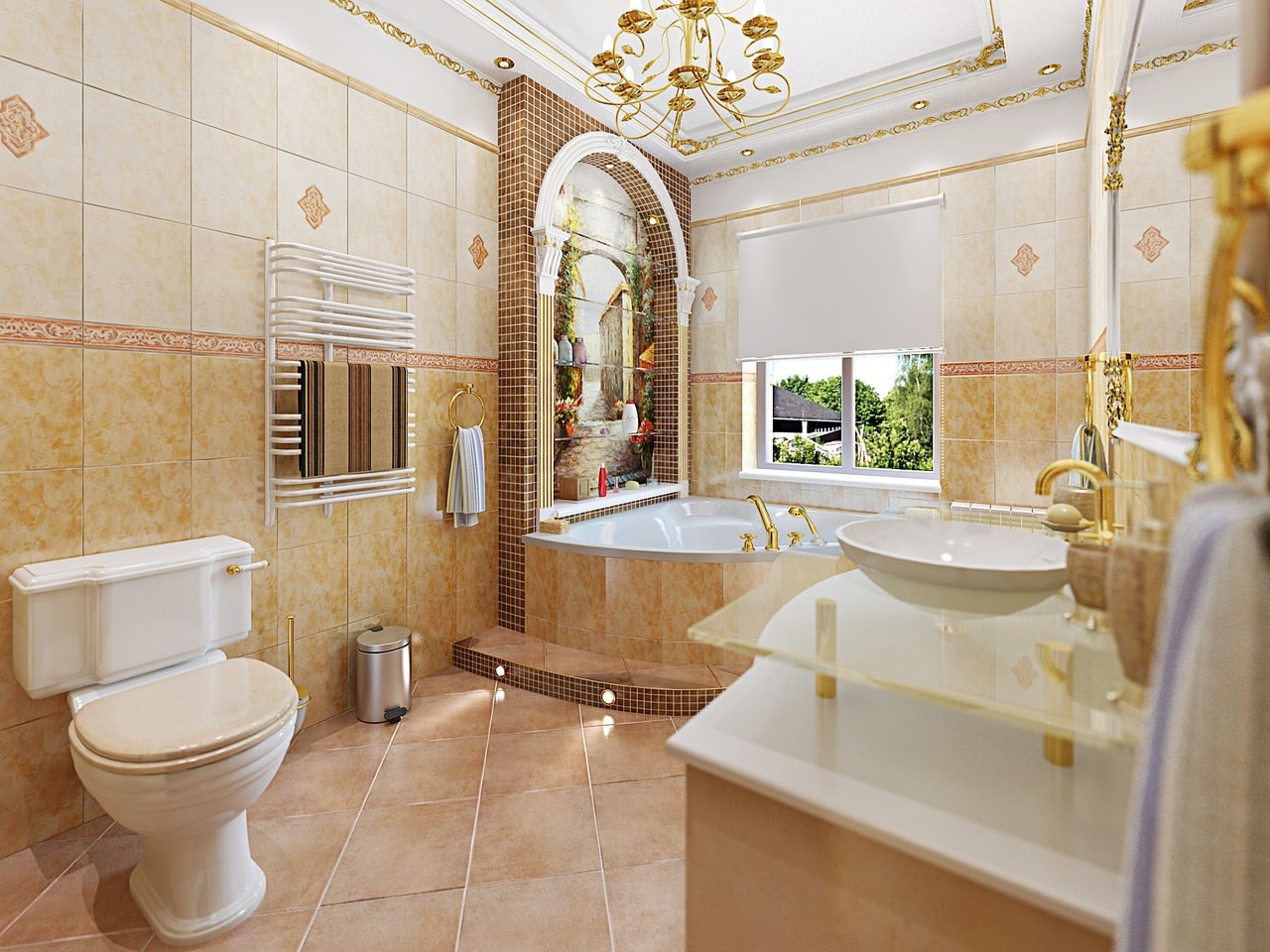 Фото интерьер ванной комнаты в итальянском стиле