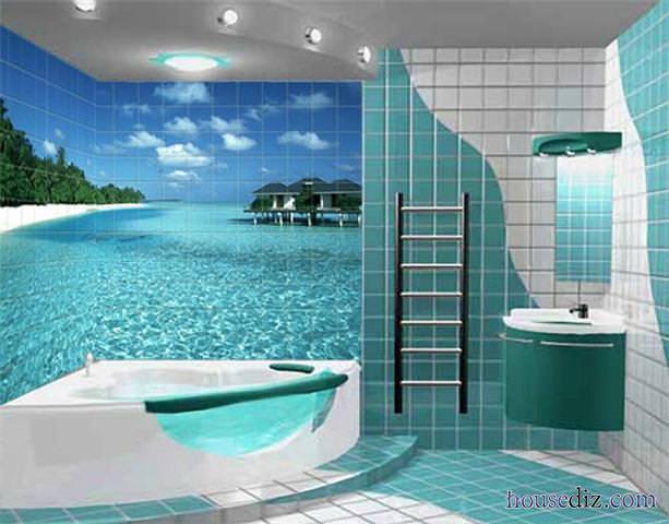 Дизайн рисунок в ванной