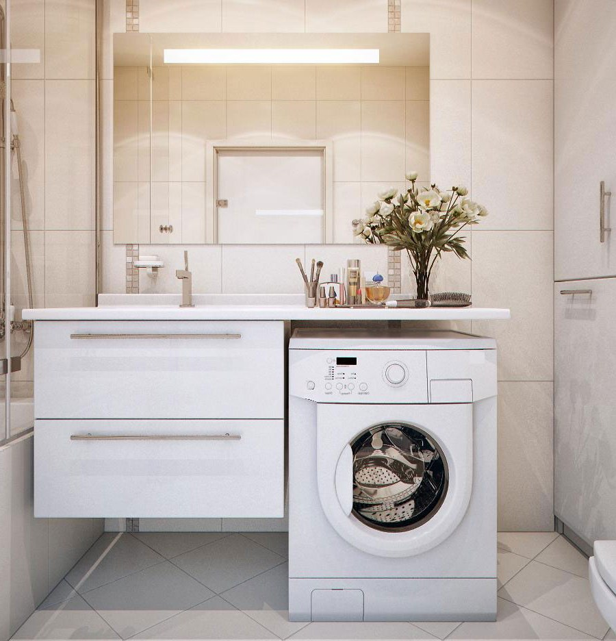 Установка стиральной машины под раковиной в ванной комнате (25 фото)