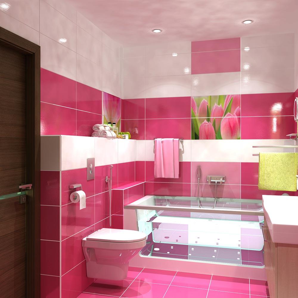 Разноцветный дизайн ванной комнаты