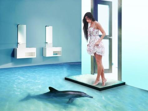 Немного о технологии наливного пола в ванной: видео монтажа наливного 3D пола, фото