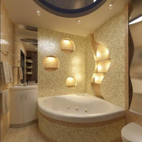 Интерьер ванной комнаты с угловыми ваннами: видео установки ванной, 72 фото
